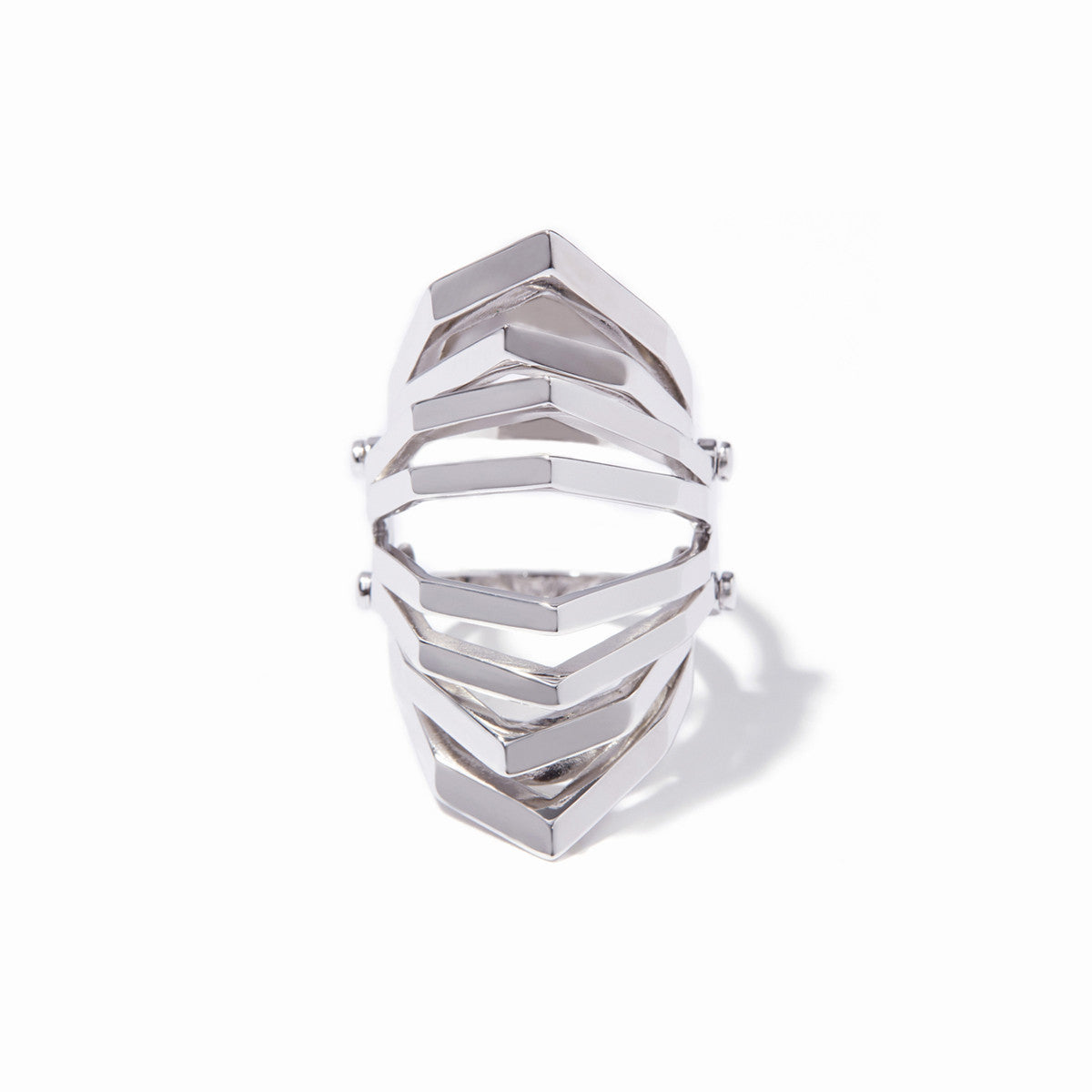 Aris Hinged Cut-out Ring - Rhodium
