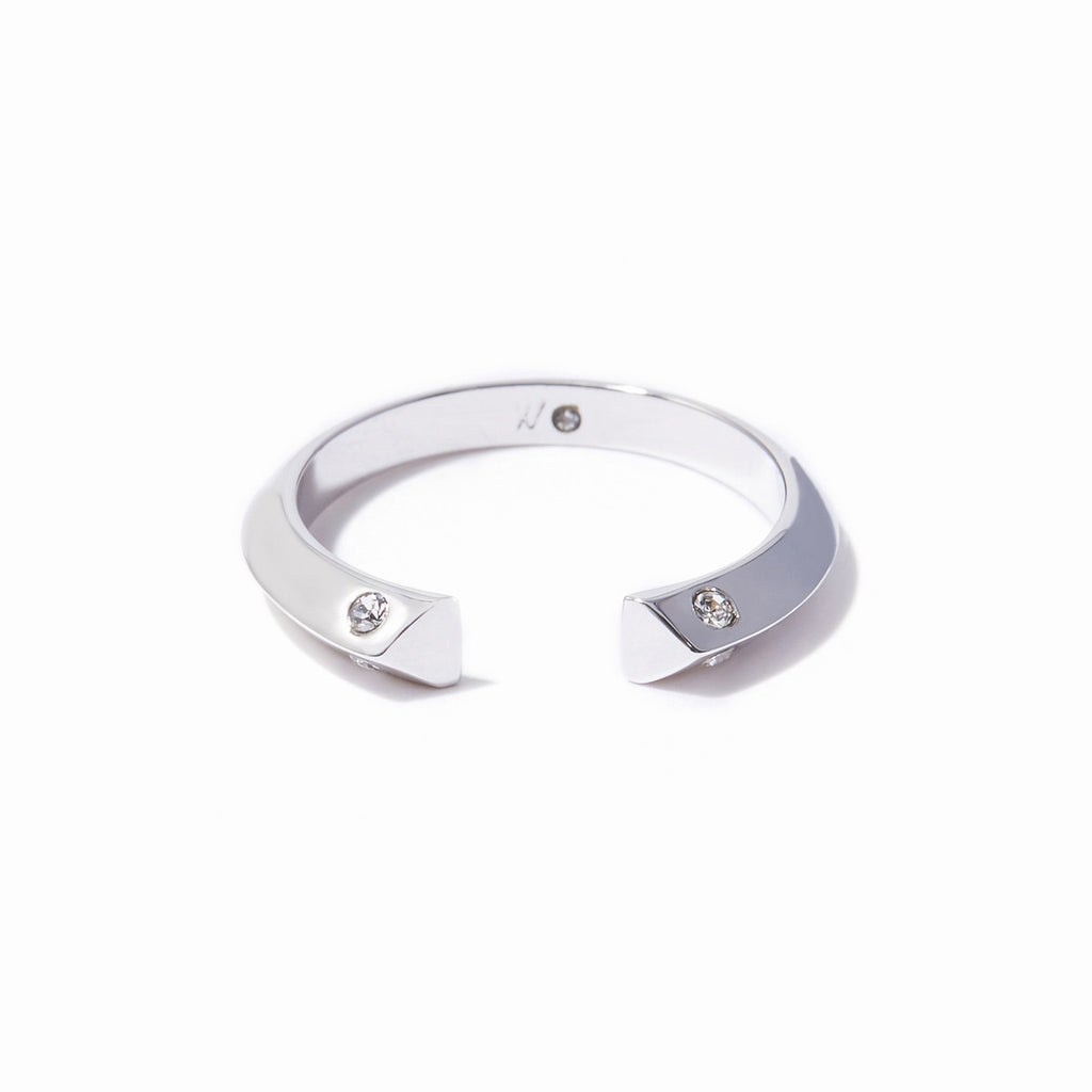 Cira Angled Ring - Rhodium