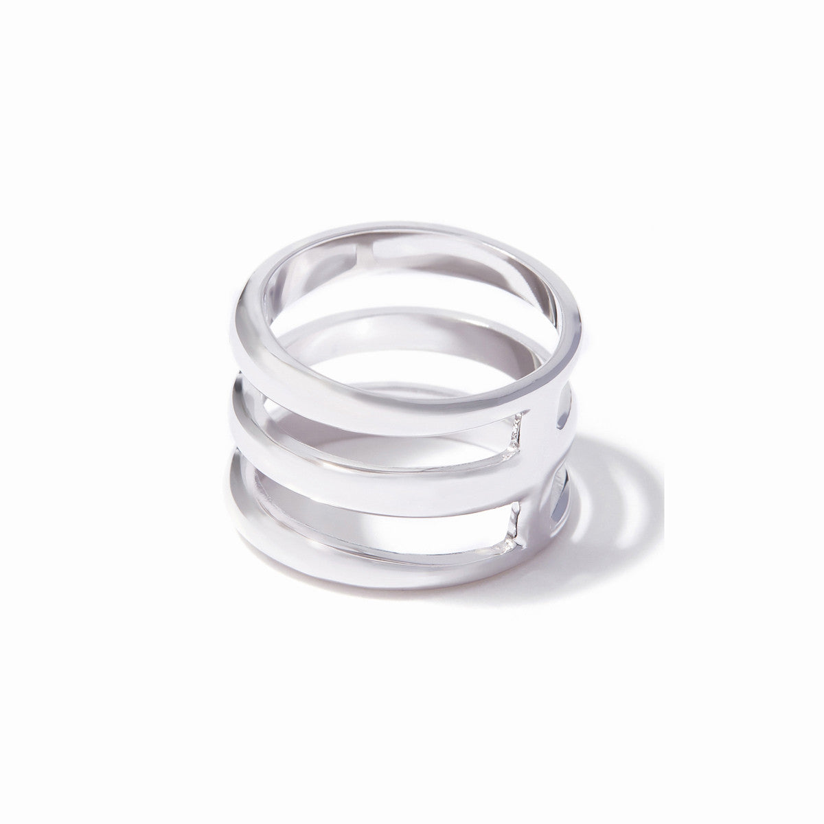 Cira Three Band Ring - Rhodium
