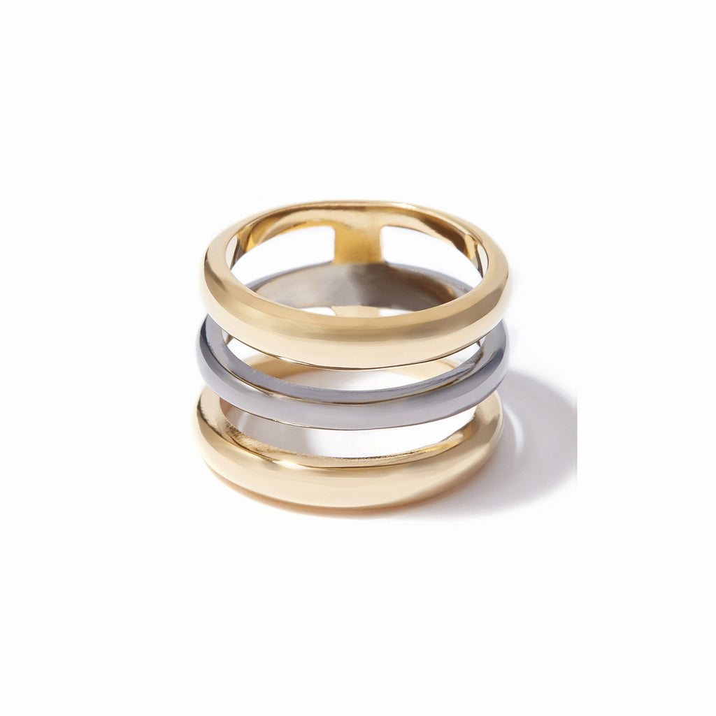 Cira Three Band Ring - 2 Tone Gold and Hematite