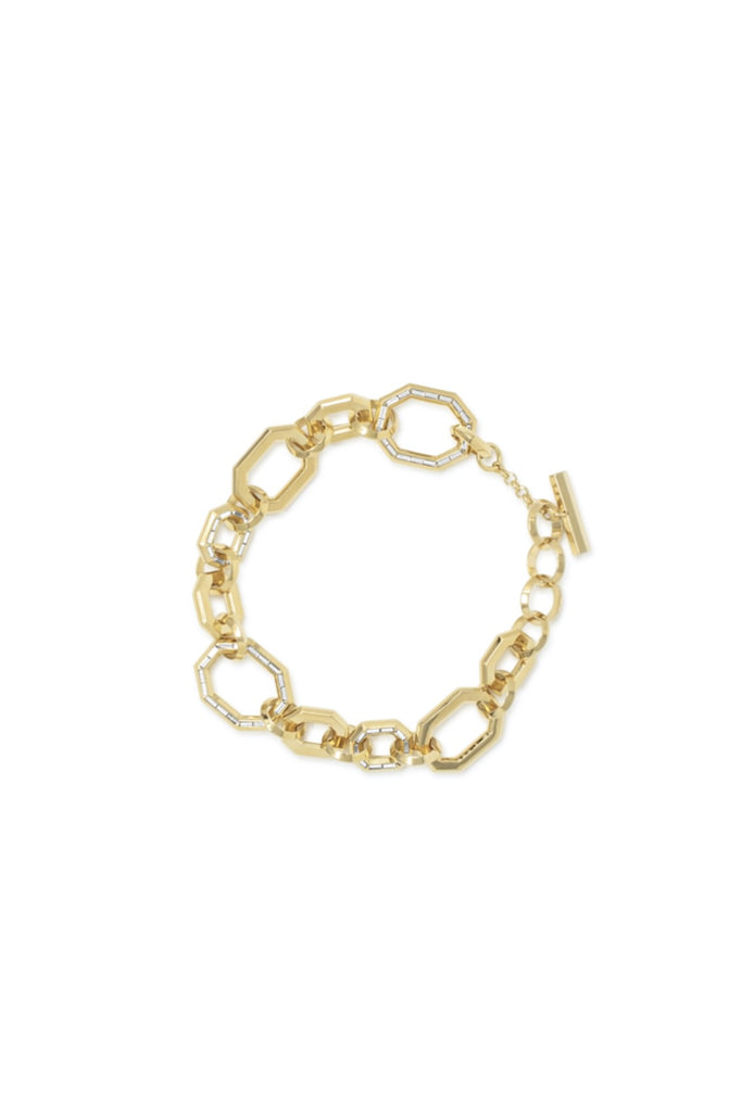 Essential Baguette Inlay Link Bracelet - Gold