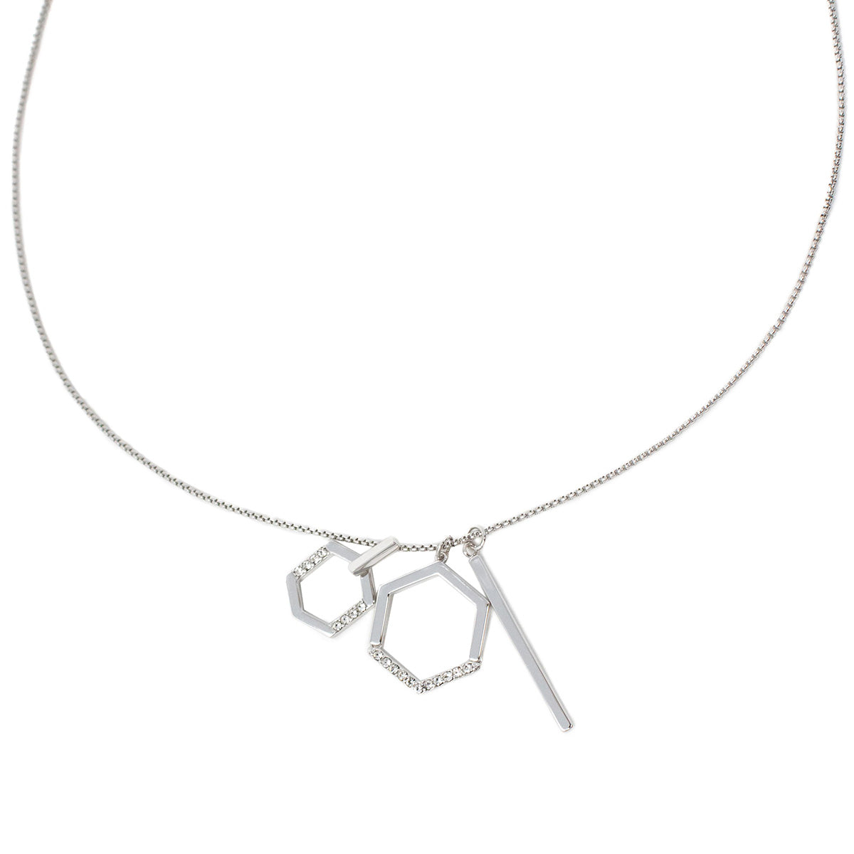 Constellation Long Charm Slider Necklace - Rhodium
