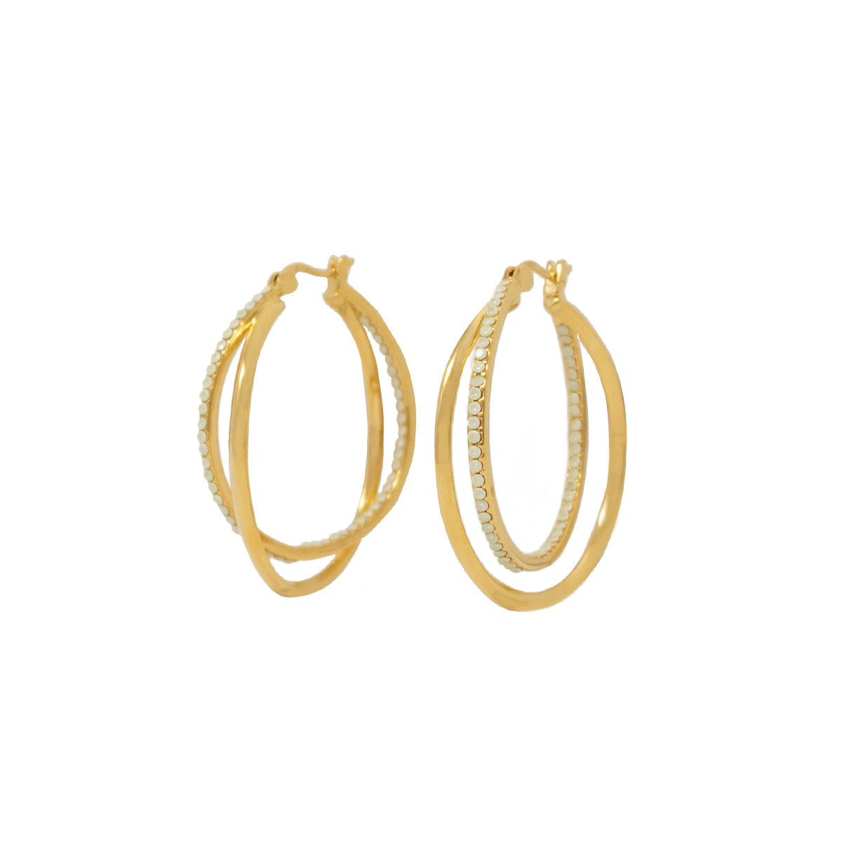 Cira Intertwined Pavé Hoop Earrings - White Opal