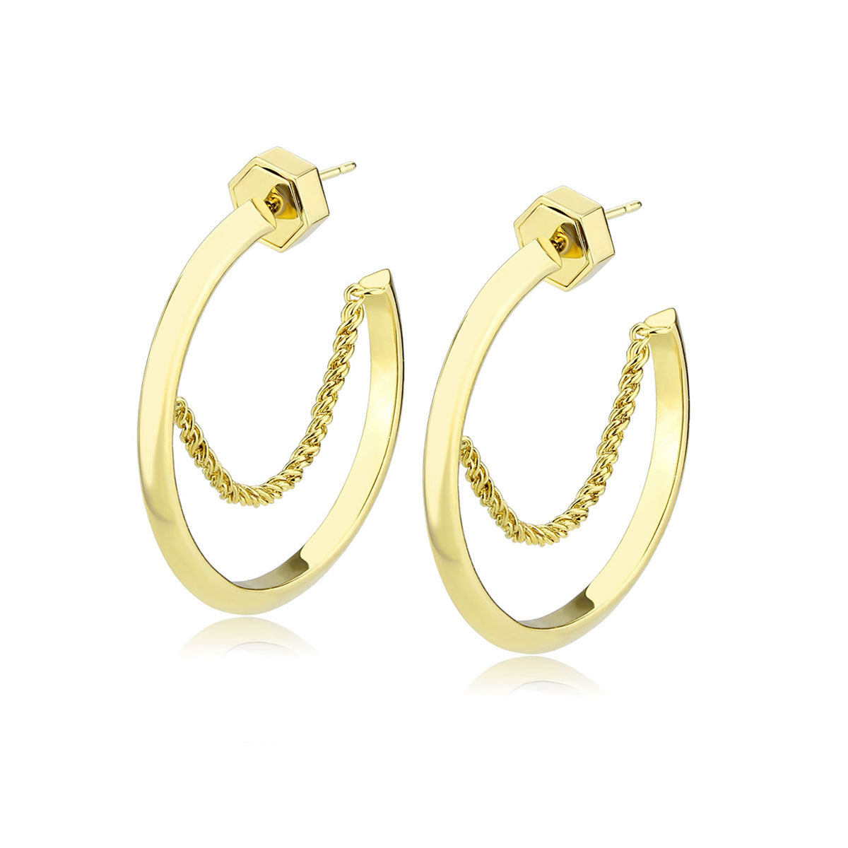Chain Reaction Crescent Hoop Earrings - Gold
