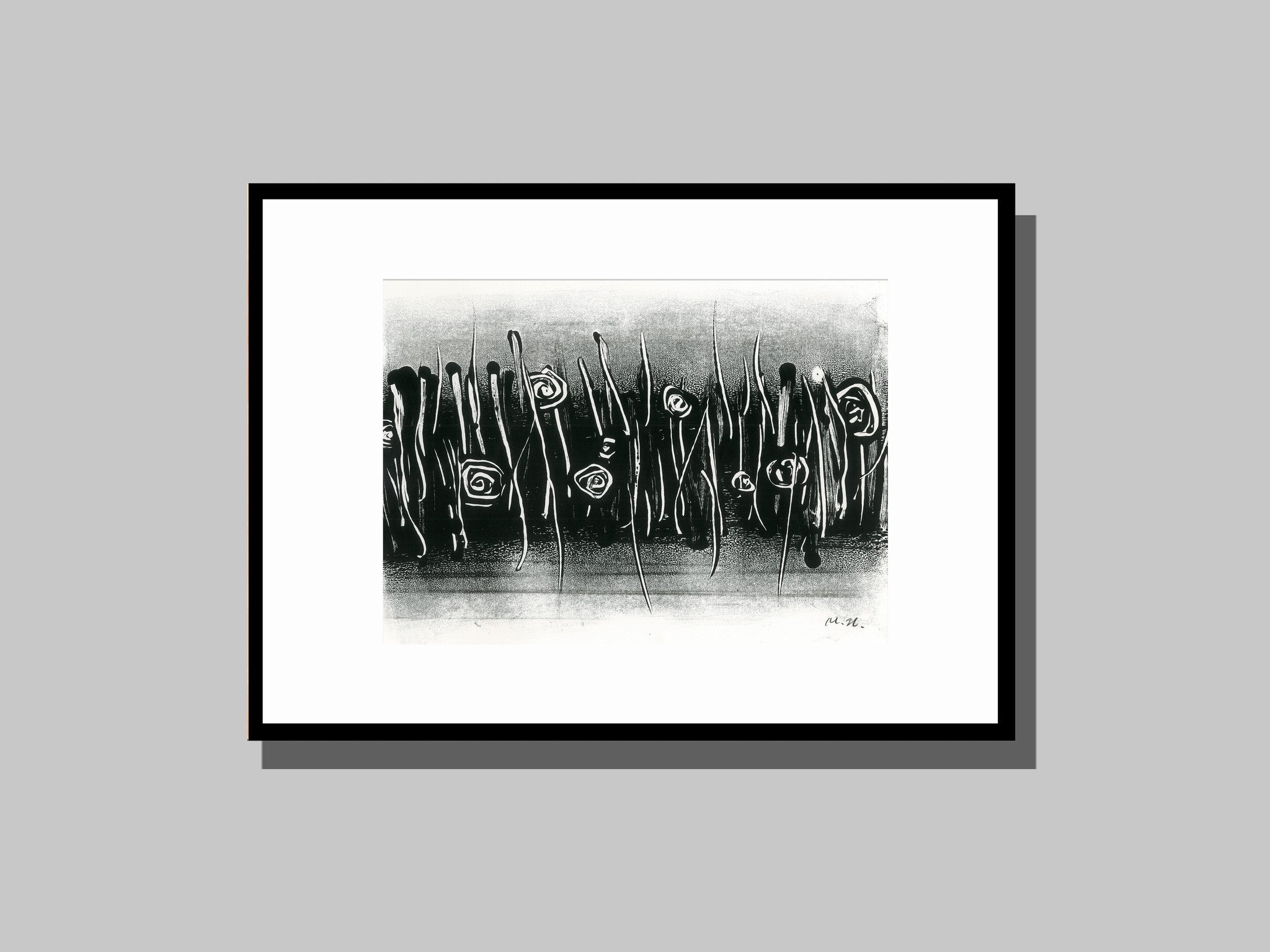 Monoprint | Wander in Roses - Black