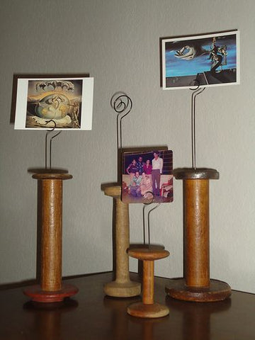 Vintage Wooden Bobbin Picture Holder
