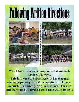 Following Directions Activity Paper Airplane from a Magazine Article