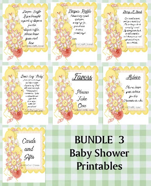BUNDLE BABY SHOWER 3 Matching Printable Digital Party Designs and Games PNG JPEG - JAMsCraftCloset