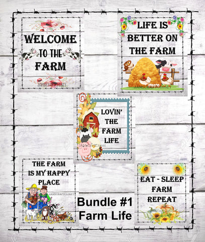 BUNDLE FARM 1 Graphic Design Downloads SVG PNG JPEG Files Sublimation Design Crafters Delight Country Decor FARM Lovers  My digital SVG, PNG and JPEG Graphic downloads for the creative crafter are graphic files for those that use the Sublimation or Waterslide techniques  - JAMsCraftCloset