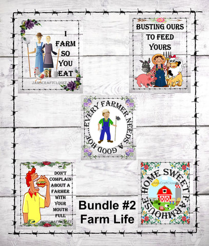 BUNDLE FARM 2 Graphic Design Downloads SVG PNG JPEG Files Sublimation Design Crafters Delight Country Decor FARM Lovers  My digital SVG, PNG and JPEG Graphic downloads for the creative crafter are graphic files for those that use the Sublimation or Waterslide techniques - JAMsCraftCloset
