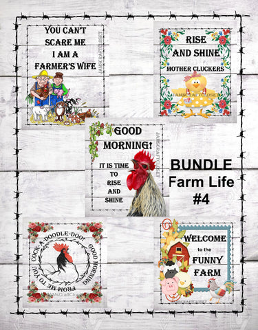 BUNDLE FARM 4 Graphic Design Downloads SVG PNG JPEG Files Sublimation Design Crafters Delight Country Decor FARM Lovers  My digital SVG, PNG and JPEG Graphic downloads for the creative crafter are graphic files for those that use the Sublimation or Waterslide techniques - JAMsCraftCloset