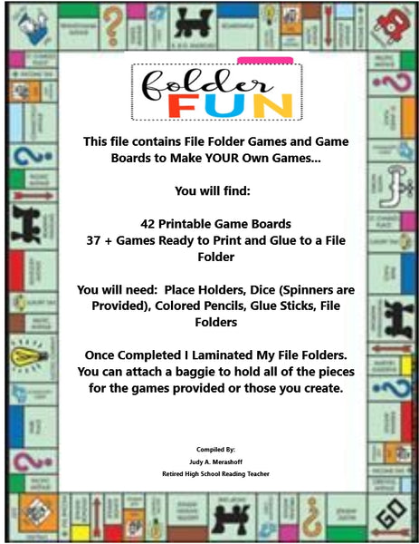File Folder Games and Game Boards to Make YOUR Own  Hands On Teacher Resource JAMsCraftCloset