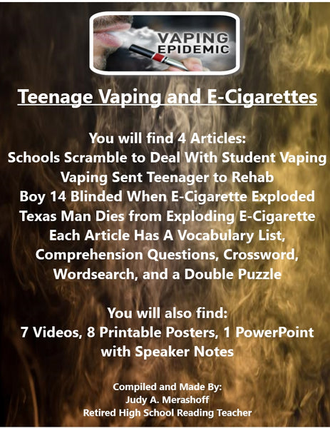 Teenage Vaping and E-Cigarette  Supplemental Resources JAMsCraftCloset