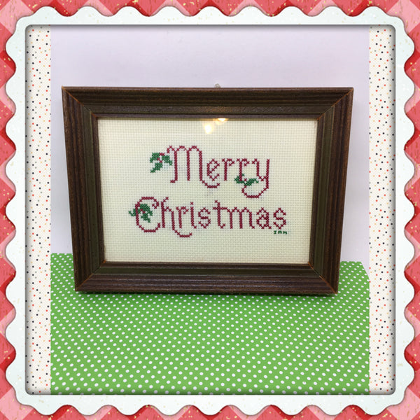 Merry Christmas Cross Stitched Framed Picture Vintage Handmade by ME Christmas Decor Holiday Decor Wall Art Wall Hanging - JAMsCraftCloset
