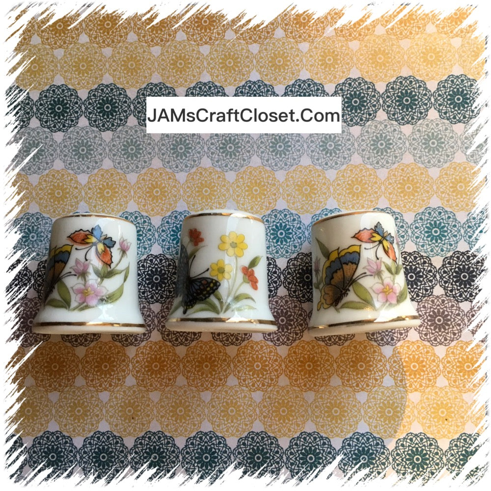 Thimbles #10 Vintage Butterfly and Flowers SET of 3