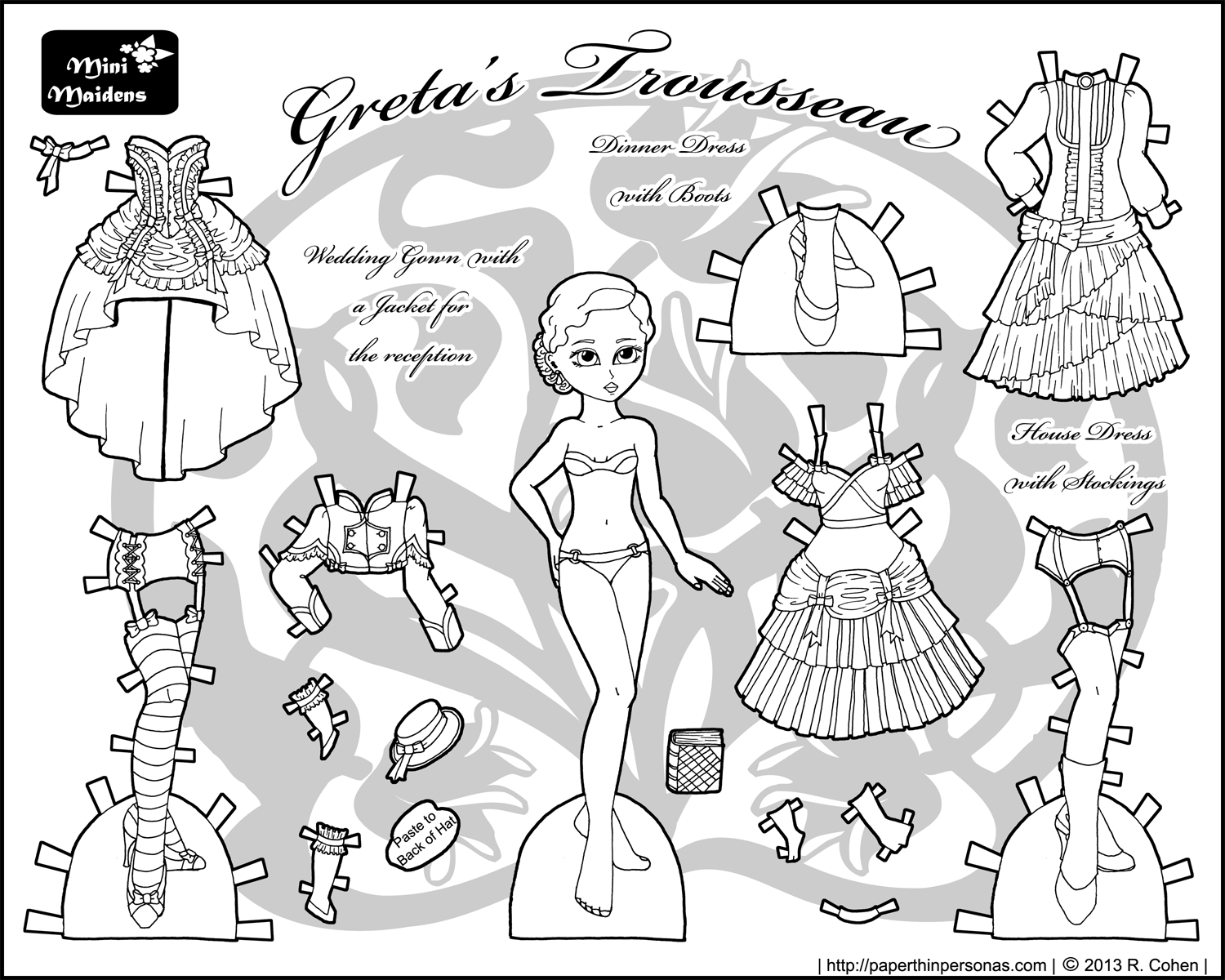 FREE Coloring Pages Paper Doll Patterns Style 6 ...