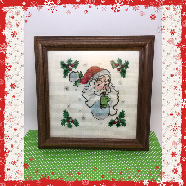 Merry Christmas Cross Stitched Framed Picture Vintage Handmade by ME Christmas Decor Holiday Decor Wall Art Wall Hanging JAMsCraftCloset