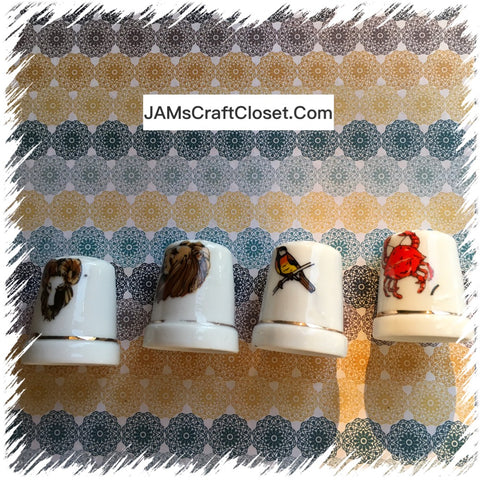 Thimbles #11 Vintage Bird Lion Crab and Ram SET of 4
