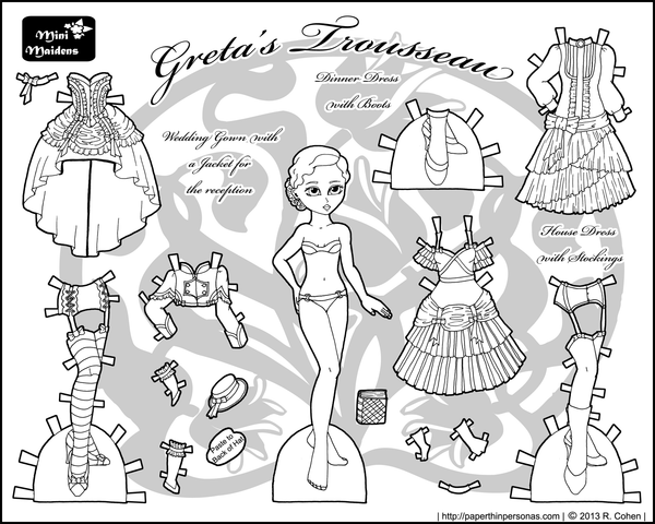 FREE Coloring Pages Paper Doll Patterns Style 6