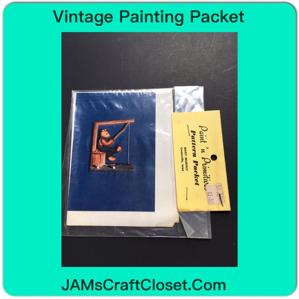 Vintage DIY Painting Packet #12 Bear Fishing JAMsCraftCloset