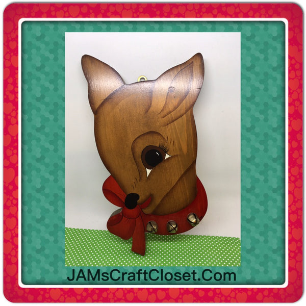 Rudolph Reindeer Wall Art Vintage Handmade and Hand Painted Christmas Holiday Decoration