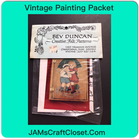 Vintage DIY Painting Packet #13 Boy and Girl Under Umbrella JAMsCraftCloset