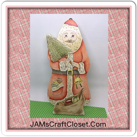 Santa Wooden Pen and Ink Vintage Handmade and Hand Painted Holiday Christmas Decor