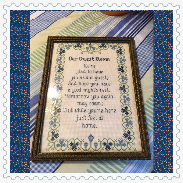 Our Guest Room Saying Cross Stitch by ME Vintage Gold Frame Folk Art Home Decor JAMsCraftCloset