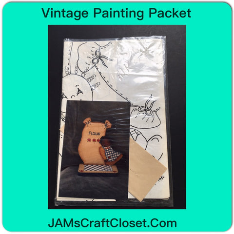 Vintage Painting Packet #14 Pickaninny and Flower Bag