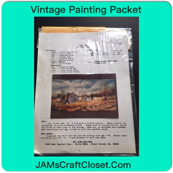 Vintage DIY Painting Packet #15 House and Barn Along the River JAMsCraftCloset