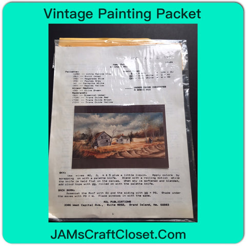 Vintage Painting Packet #15 House and Barn Along the River