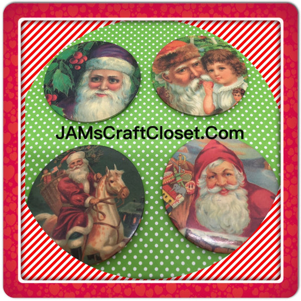 Santa Claus Magnets Vintage Christmas Holiday Decoration Kitchen Decor SET OF 4 JAMsCraftCloset