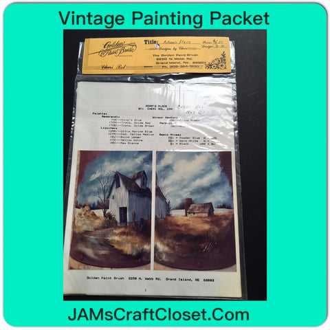 Vintage DIY Painting Packet #16 Another House and Barn Along the River JAMsCraftCloset