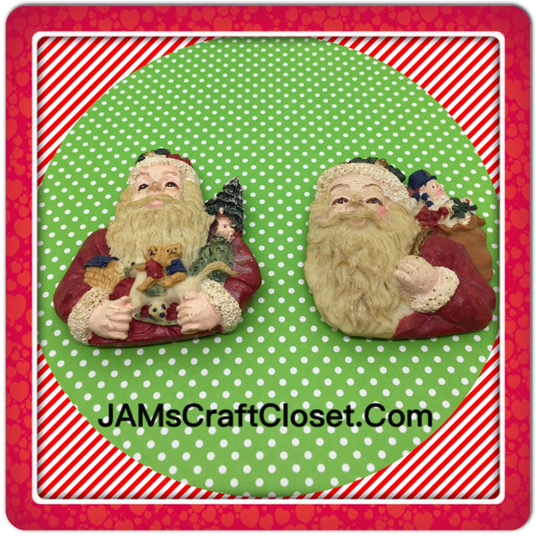 Santa Claus Magnets Vintage Christmas Holiday Decoration Kitchen Decor SET OF 2 JAMsCraftCloset