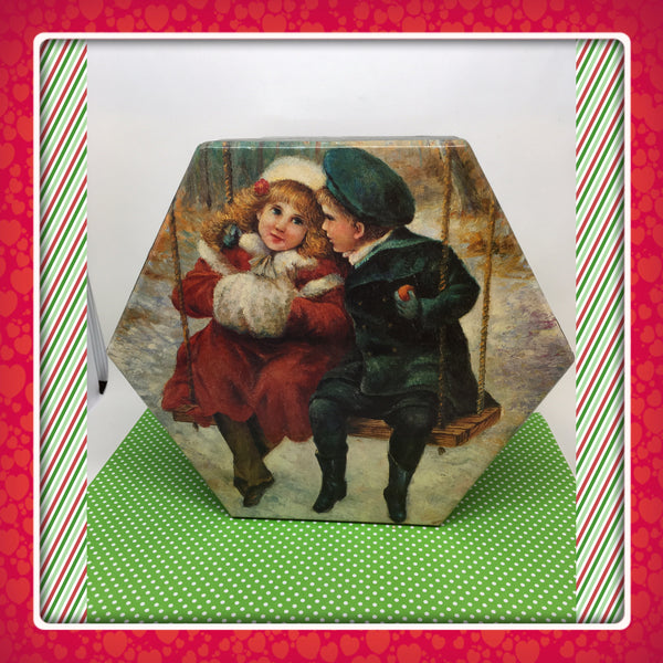 Six Sided Christmas Box Boy and Girl on Swing Vintage Christmas Decor Holiday Decor Collectible JAMsCraftCloset