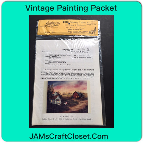 Vintage Painting Packet #17 Another House and Red Barn With Clothes on the Line