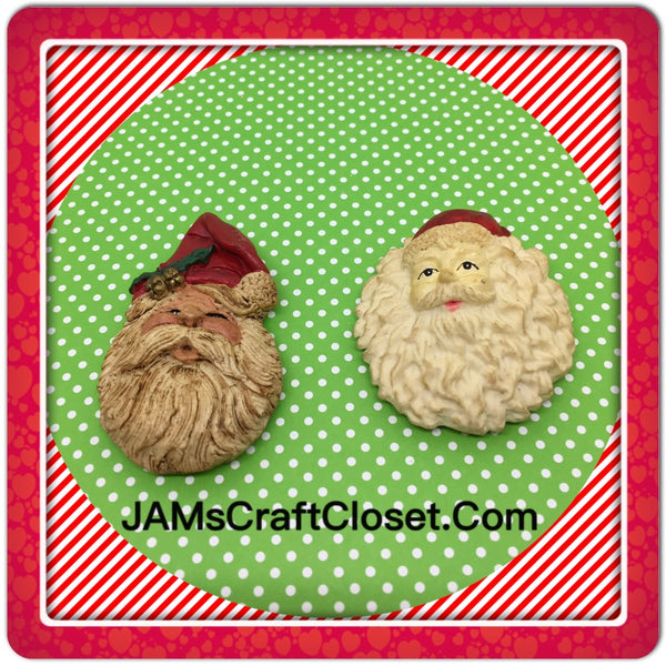 Santa Claus Face Magnets Vintage Christmas Holiday Decoration Kitchen Decor SET OF 2 JAMsCraftCloset
