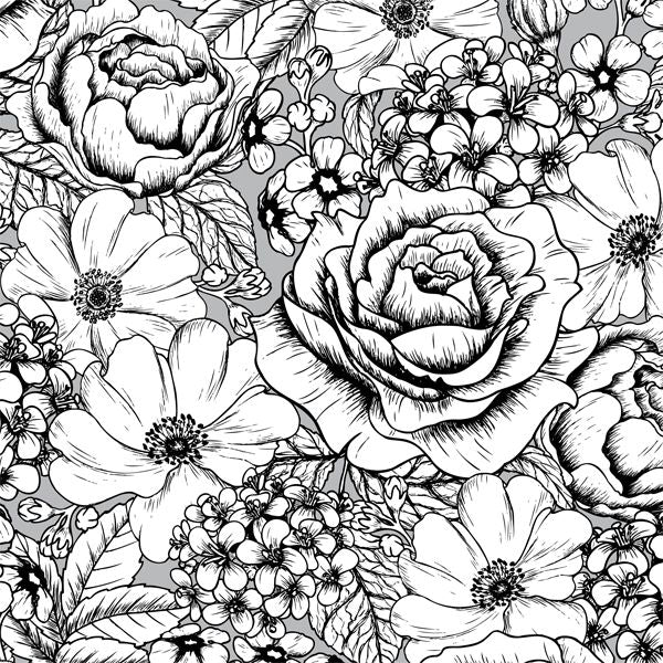 FREE Coloring Pages Flowers Style 2