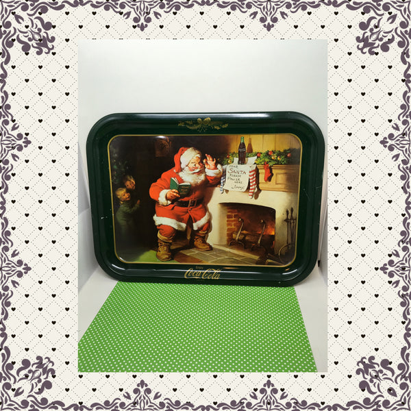 Santa Pause Here Coca Cola Tray Vintage Christmas Decor Holiday Decor Collectible JAMsCraftCloset