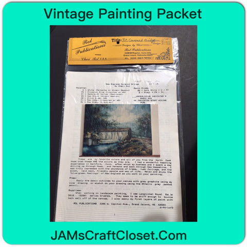 Vintage DIY Painting Packet #18 New England Covered Bridge JAMsCraftCloset