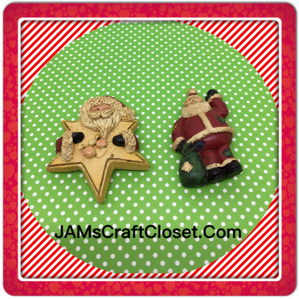Santa Claus With Star and Bag Magnets Vintage Christmas Holiday Decoration Kitchen Decor SET OF 2 JAMsCraftCloset