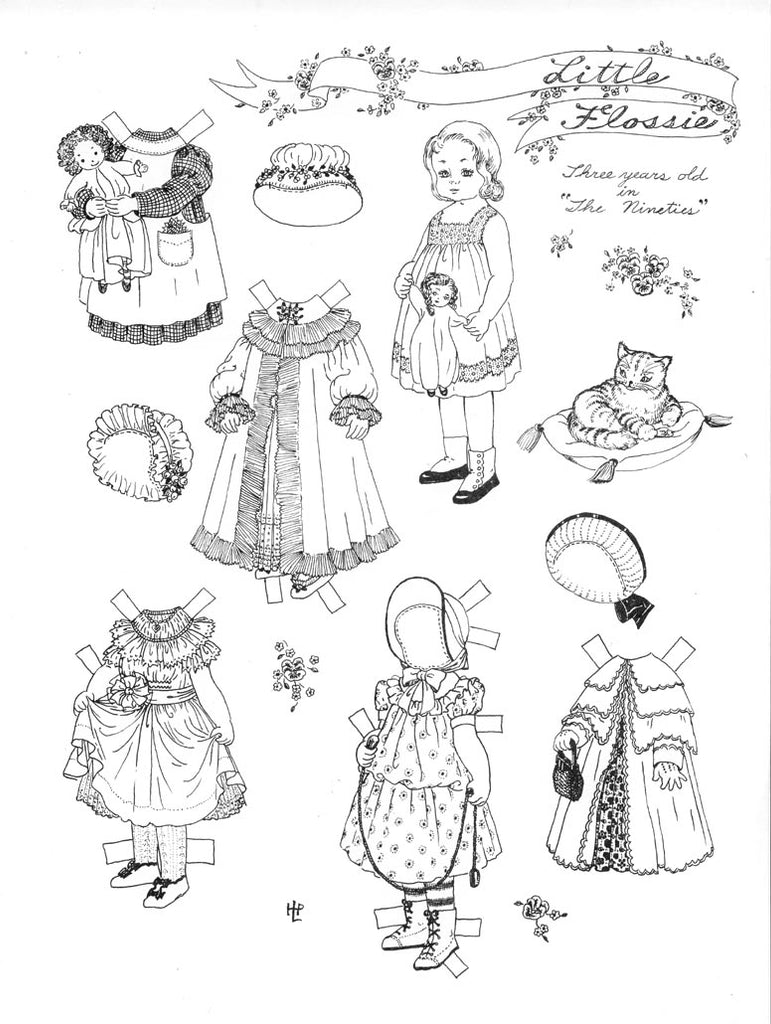FREE Coloring Pages Paper Doll Patterns Style 19