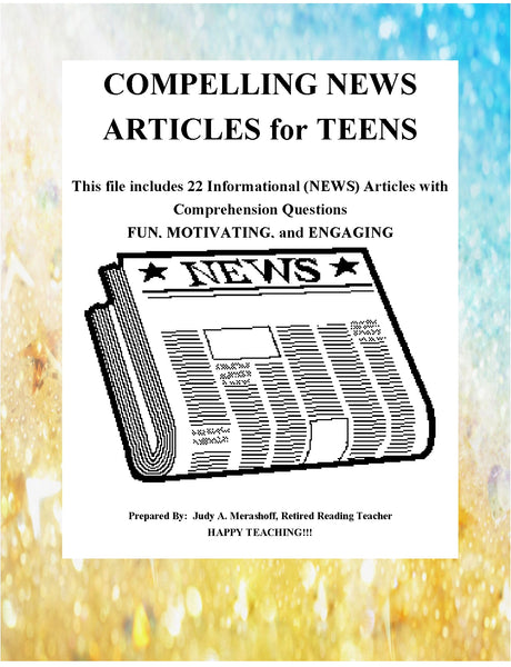 Compelling News Stories for Teens Teacher Supplemental Resources Fun Engaging JAMsCraftCloset