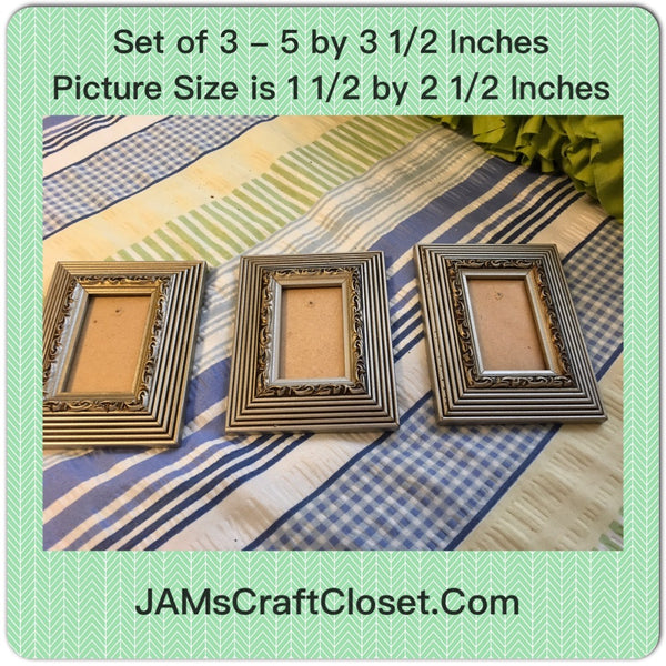 Picture Frames Vintage Silver and Black SET OF 3 JAMsCraftCloset