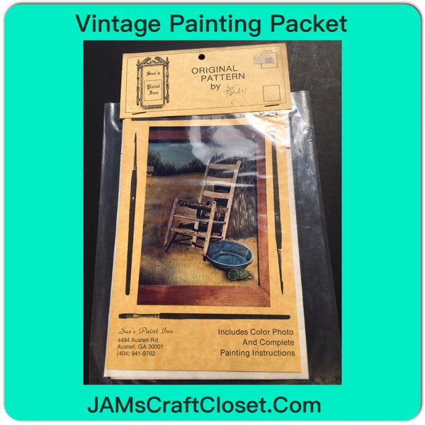 Vintage DIY Painting Packet #1 of a Chair and Enamel Pan on Porch JAMsCraftCloset