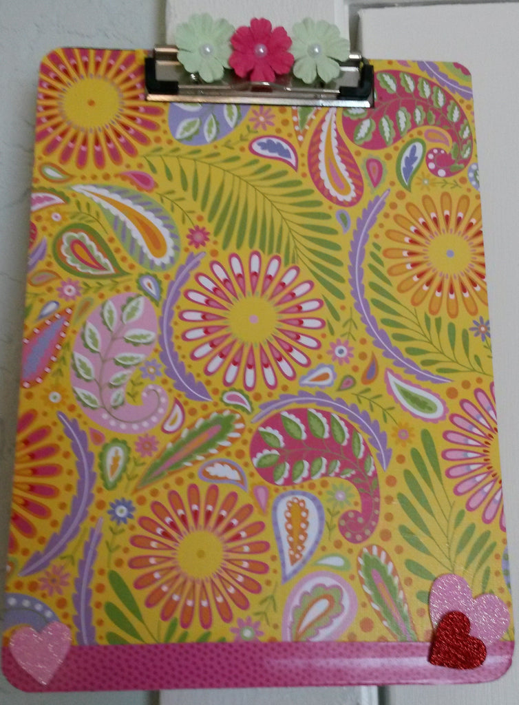 Clipboard Handcrafted Paisley Print Design Pink Yellow Green Floral Ribbon Heart Accent - JAMsCraftCloset