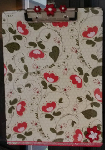 Clipboard Handcrafted Red Flowers and Green Leaves Design - JAMsCraftCloset