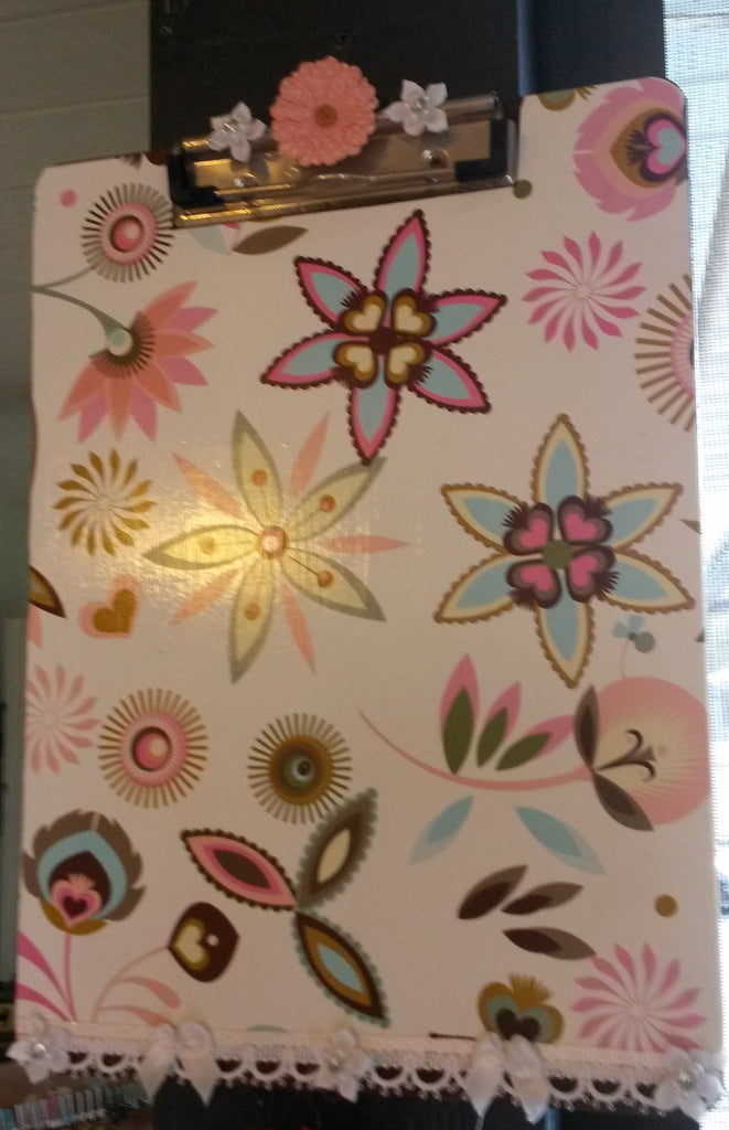 Clipboard Handcrafted Pink and Blue Floral Design - JAMsCraftCloset