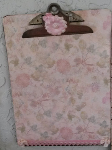 Clipboard Handcrafted Pale Pink and Green Floral Print Design - JAMsCraftCloset