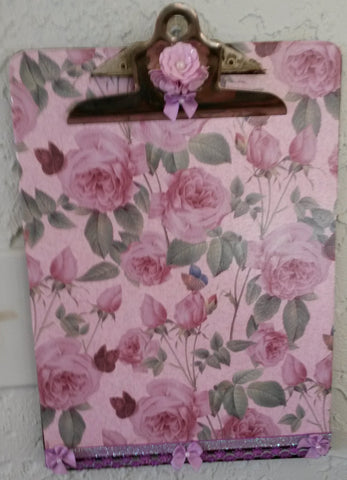 Clipboard Handcrafted Bright Pink Rose Print Design - JAMsCraftCloset
